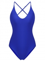 Blue Women Sexy Bikini High Cut Adjustable Spaghetti Strap Swimming Stretchy Bodysuit