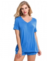 Blue Solid V-Neck Short Sleeve Top and Shorts Pajama Set