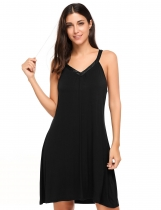 Black V-Neck Sleeveless Loose Nightgown Sleepwear