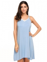 Blue V-Neck Sleeveless Loose Nightgown Sleepwear