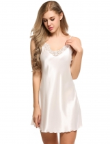 White Satin Lace Patchwork A-Line Hem Nightgown Sleepwear