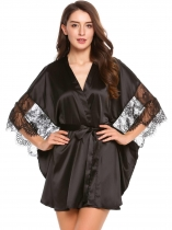 Noir Womens 3/4 Bat-wing Sleeve Lace Patchwork Satin Robe With Belt