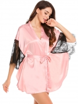 Pink Womens 3/4 Bat-wing Sleeve Lace Patchwork Satin Robe With Belt
