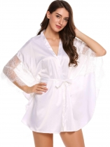 White 3/4 Bat-wing Sleeve Lace Patchwork Satin Robe With Belt