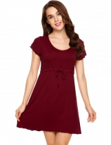 Wine red Short Sleeve Pajamas Solid O Neck Nightgown Drawstring Loose Dress
