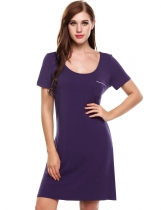 Purple Short Sleeve Solid O-Neck Front Pocket Nightgown Sleepwear