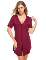 Wine red Solid Short Sleeve Button Down Shirt Dress Sleepwear