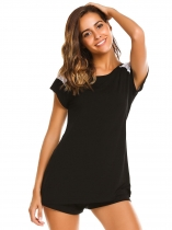 Black Short Sleeve Lace Patchwork T-Shirt and Shorts Pajama Set
