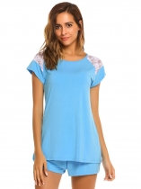 Blue Short Sleeve Lace Patchwork T-Shirt and Shorts Pajama Set