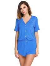 Blue Short Sleeve Solid V-Neck Rompers Pajamas