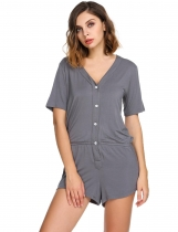 Grey Womens Short Sleeve Solid V-Neck Playsuits Rompers Pajamas