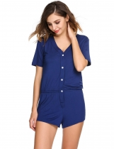 Navy blue Short Sleeve Solid V-Neck Rompers Pajamas