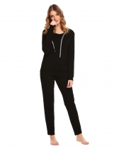 Black Hooded Long Sleeve Hoodie & Drawstring Pants Pajama Set