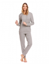 Gray Hooded Long Sleeve Hoodie & Drawstring Pants Pajama Set