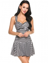 Black Striped Wrap Padded One Piece Swim Dress Swimwear