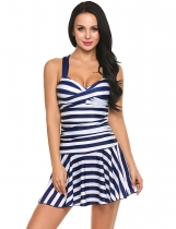 Navy blue Striped Wrap Padded One Piece Swim Dress Swimwear