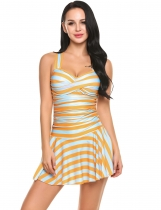 Pomarańczowy Women Sexy One Piece Swim Dress Swimwear Padded Striped Beach Wear Swimsuit