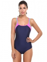 Navy blue Padded Patchwork Cross Back Women's One-Piece Swimsuit