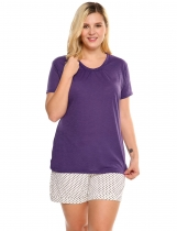 Purple V-Neck Short Sleeve Solid Plus Size T-Shirt