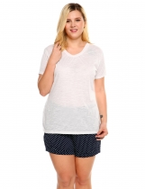 White V-Neck Short Sleeve Solid Plus Size T-Shirt