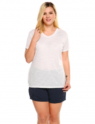 1d1ccc4d73717 White V-Neck Short Sleeve Solid Plus Size T-Shirt