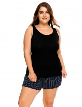 Black Plus Size Scoop Neck Solid Cotton Tank Top