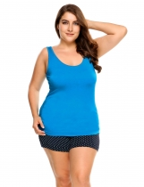 Blue Plus Size Scoop Neck Solid Cotton Tank Top