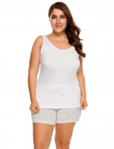 White Plus Size Scoop Neck Solid Cotton Tank Top