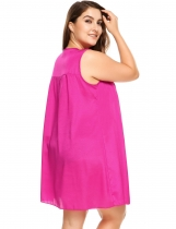 Rose red V-Neck Sleeveless Solid Plus Size Nightgown