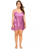 Purple Plus Size Front Split Lace Satin Patchwork Nightgown
