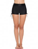 Black Solid Swim Boyshorts Bikini Bottom Swimwear with Adjustable Ties