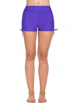 Purple Solid Swim Boyshorts Bikini Bottom Swimwear with Adjustable Ties