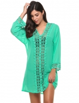 Green Deep V-neck Long Sleeve Hollow Lace Chiffon Beach Bikini Cover Up