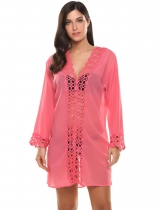Pink Deep V-neck Long Sleeve Hollow Lace Chiffon Beach Bikini Cover Up