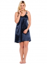 Dark blue Spaghetti Strap Lace Satin Plus Size Nightgown Sleepwear