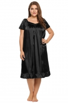 Black Plus Size Solid Short Sleeve Ruffle Hem Nightgown