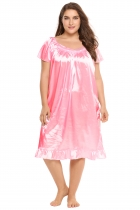 Pink Plus Size Solid Short Sleeve Ruffle Hem Nightgown