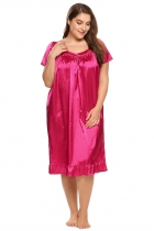 Rose red Plus Size Solid Short Sleeve Ruffle Hem Nightgown