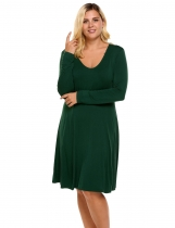 Army green Plus Size Long Sleeve Solid Casual Loose Nightgown