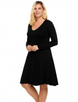 Black Plus Size Long Sleeve Solid Casual Loose Nightgown