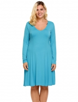 Blue Plus Size Long Sleeve Solid Casual Loose Nightgown