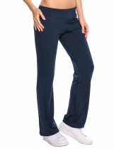 Dark blue Loose Mid-waisted Stretchy Sports Ygoa Pants