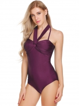 Dark red Halter Sleeveless Padded Elastic Backless One Piece Swimwear