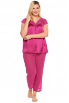 Rose red Plus Size Lace Satin Tops and Chiffon Pants Pajama Set