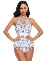 Femmes Sexy Two Pieces Halter Padded Dot Swimdress Split Bikini