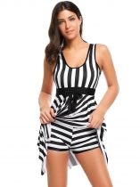Black Striped Padded Bow One-Piece Swimwear