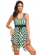Green Striped Padded Bow One-Piece Swimwear