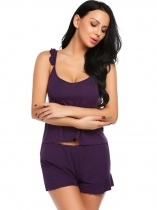 Purple Womens Cotton Slim Slips de nuit Ruffles Spaghetti Straps Vêtements Cami Ensemble pyjamon