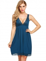 Bleu foncé Womens sans manches V Neck Backless Pyjamas Lace Patchwork Nightgown Sleepwear Dress