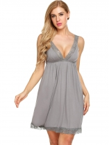 Grey Gris Femmes sans manches V Neck Backless Pyjamas Lace Patchwork Nightgown Sleepwear Dress